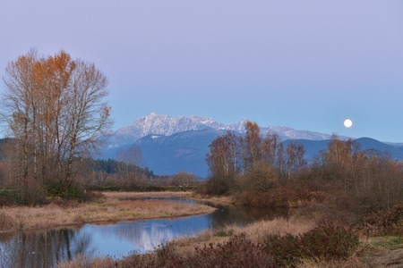 fraser river: Pitt River and Golden Ears Mountain at sunset and moonrise, British Columbia