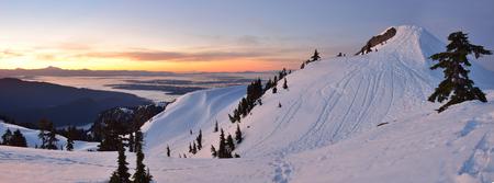 mt baker: Mt. Seymour First Pump Peak winter sunrise, Vancouver, BC Stock Photo