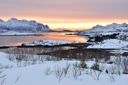 Vatterfjorden Sunrise, a fjord of Austnesfjorden, Lofoten, Norway Фото со стока