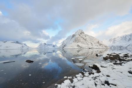 Kjerkfjorden Fjord and Olstinden Mountain, Reine, Lofoten