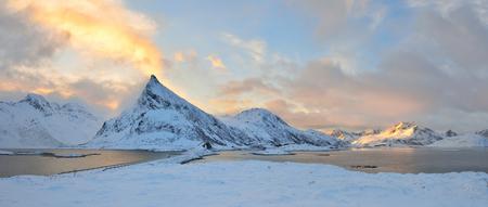 Torsfjorden inlet & Volandstinden mountain sunrise, Lofoten, Norway