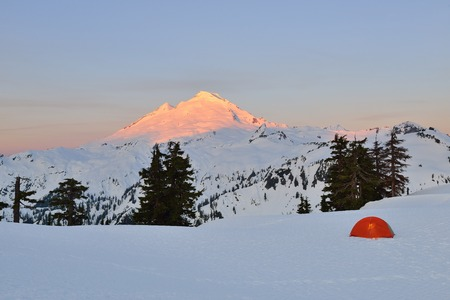 mt baker: Tent and Mt Baker at sunrise, camping at Huntoon Point, Washington State Stock Photo