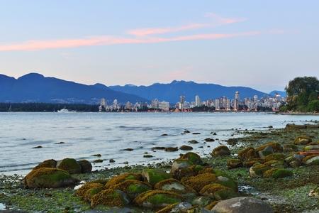 british english: Vancouver English Bay at sunset, British Columbia, Canada Stock Photo