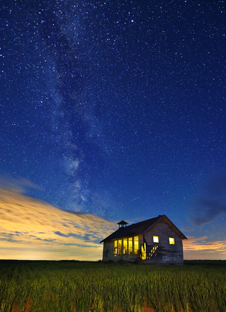 schoolhouse: Abandoned Schoolhouse And Milky Way In Washington State