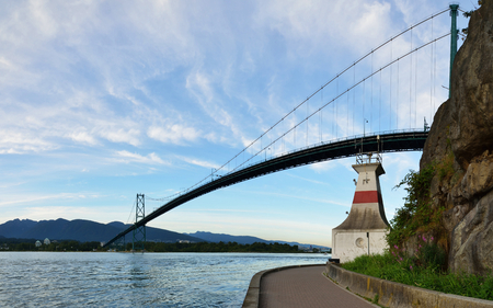 Lions Gate Bridge and Grouse Mountain, Vancouver, BC Stock Photo
