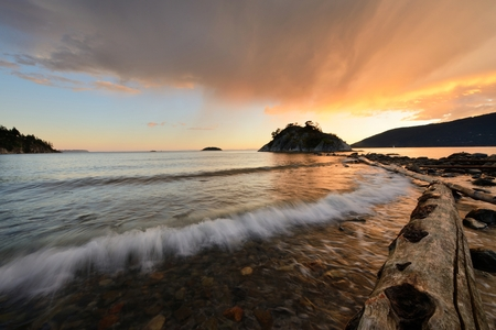 vancouver island: Whytecliff Park Stormy Sunset, West Vancouver, Canada