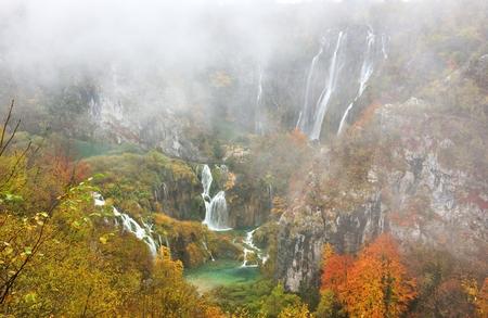 autumn colour: Plitvice Lakes Autumn Color and Mist, Croatia