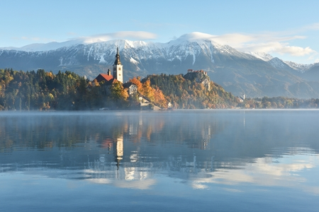 Lake Bled at autumn sunrise, Slovenia, Europe