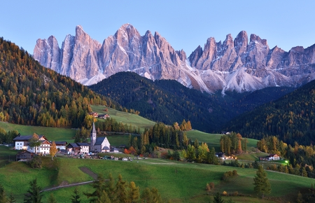 Funes Valley in twilight, Dolomites, Italy Stock Photo