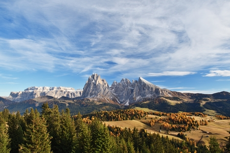 Alpe di Siusi in autumn colors, Dolomites, Italy