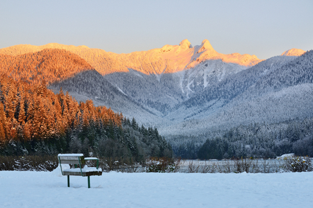 watershed: The Lions Mountain Peaks at sunrise,  Metro Vancouver, British Columbia