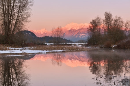 Pitt River and Golden Ears Mountain at sunset, Coquitlam, British Columbia