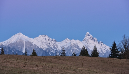 tree farming: Mount Slesse at sunset, Chilliwack, British Columbia