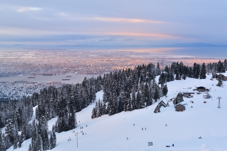 Grouse Mountain Winter sunrise, Vancouver, BC, Canada