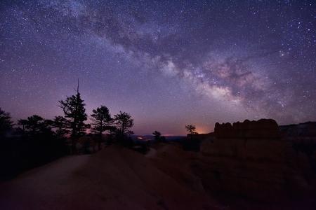 Milky Way Over Bryce Canyon, Utah, United States Фото со стока