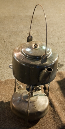 copper kettle isolated with Oil burner might market bangkok Thailand photo