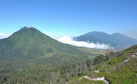 clear sky   view from Kawah Ijen  East Jawa, Indoneisa  photo