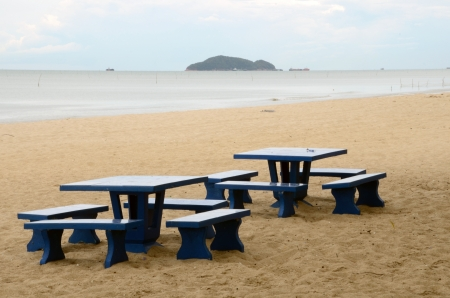 nu: singhanakhon beach  with koh nu in background Songkhla Thailand Stock Photo