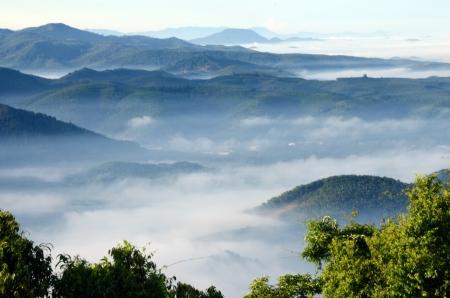 early fog: Khohong Hill,Hatyai,Songkhla Thailand Stock Photo