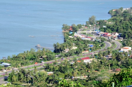 Road, Market and Aea view from top, Songkhla Thailand photo