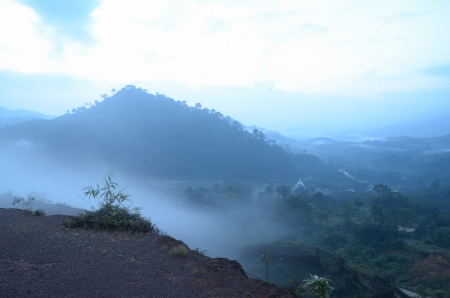 krung: Mist of the  Krung Ching,330 m above sea level. Stock Photo