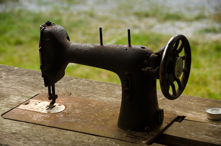 antique factory: Old sewing machine,vintage style at boutique resort,Thailand