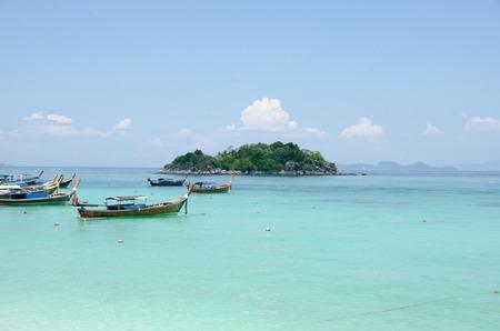 Long Tail Boat at tropical beautiful White Sand Beach Lipe sand, Satun, Thailand