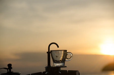 Fresh Coffee in the morning by mini Express Espresso Maker