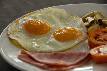 American Breakfast with fried egg.close up friend egg and ham Zdjęcie Seryjne