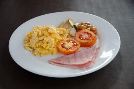 American Blackfast with Scrambled egg. and ham