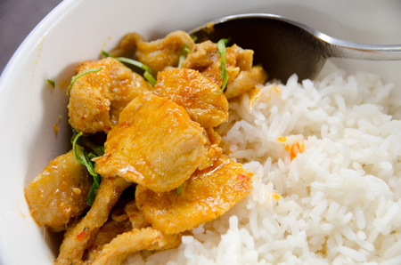 mussaman curry, chicken curry with rise