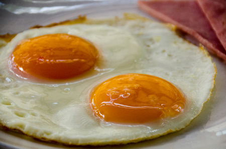 American Breakfast with fried egg.close up friend egg and ham Stock Photo