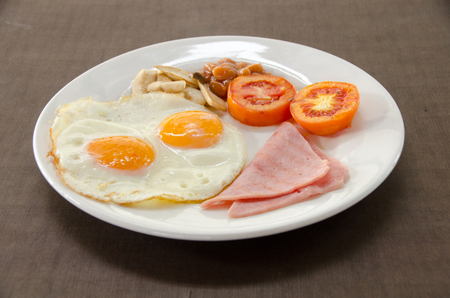 American Blackfast with fried egg.close up friend egg and ham