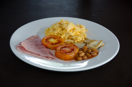 American Breakfast with Scrambled egg. and ham