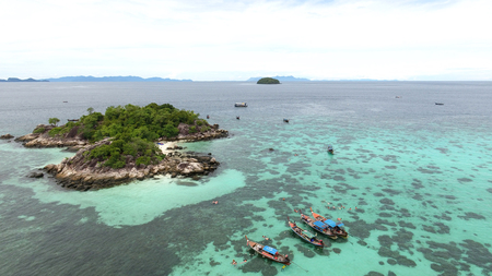 High aerial view of Koh lipe with crystal clear turquoise water on small island near Lipe (Koh Kra) have the most activity is snorkelling and kayak,Satun,Thailand Stock Photo