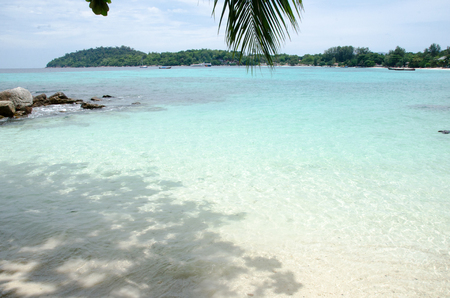 White sand beach with turquoise sea And blue sky White Sand Beach, Koh Lipe, Satun, Thailand Stock Photo