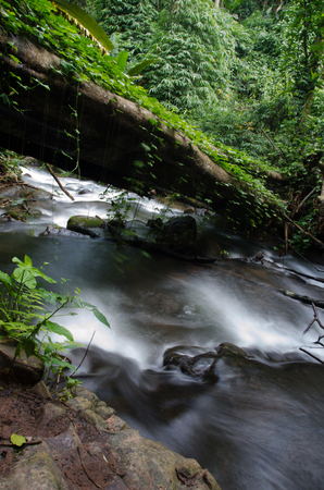 Phu Sai Dao waterfall with stone of green moss in rain forest ,  Phu Soi Dao National Park, Utaradit, Thailand.