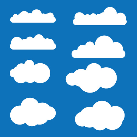 Cloud vector icon set white color on blue background. Sky flat illustration collection for web.