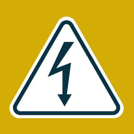 High Voltage Sign. Danger symbol. Black arrow isolated in white triangle on yelow background. Warning icon. Vector illustration Illustration