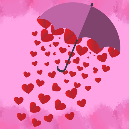 Parasol with red hearts icon.  イラスト・ベクター素材