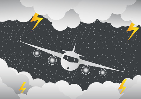 The plane flies through clouds. Rainy day and lightning in clouds. Vector illustration on abstract background. Paper art illustration. Illustration