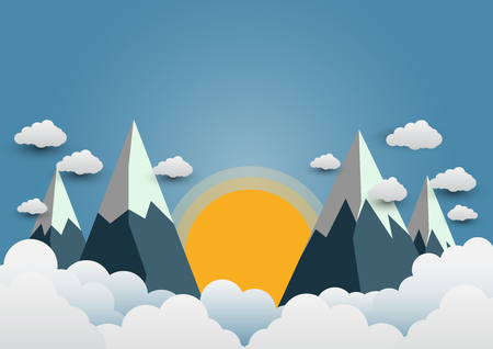 Beautiful suns and mountains with a variety of clouds. Paper art vector illustration.