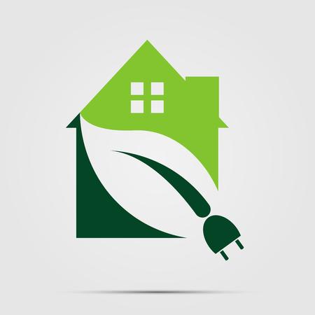 녹색 에코 하우스 또는 로고 전원 플러그 자연 녹색. 벡터 일러스트 레이 션. 일러스트