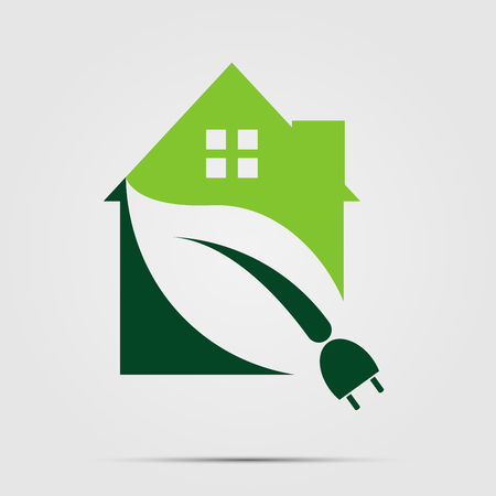 Green Eco House or Logo power plug nature green. vector illustrations. Иллюстрация