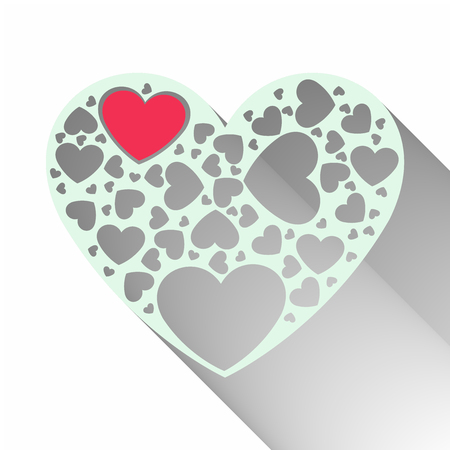 Beautiful red paper cut heart with white frame and many small heart clip art enclosed in heart frame illustration.