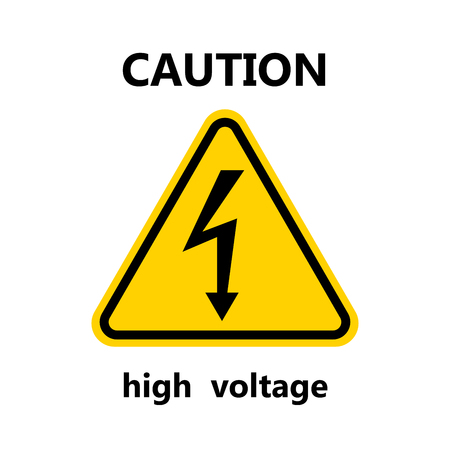 High Voltage Sign.Black arrow isolated in yellow triangle on white background.Warning icon. Vector illustration Illustration