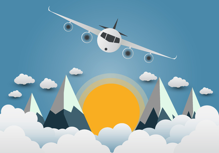 The plane soars over the mountains with beautiful sunsets over the clouds. Illustration