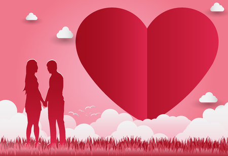 Illustration of love and Valentine's Day, standing hand in hand, showing love to each other.