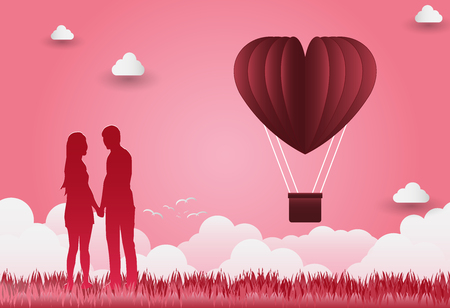 Illustration of love and Valentines Day, standing hand in hand, showing love to each other. Illustration