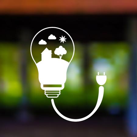 Vector blurred landscape.Energy saving digital designIn light bulbs are energy-saving homes.vector illustrations Illustration